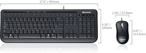 Клавиатура и мышь Microsoft Wired Desktop 600 обзор, keyboard, usb, black, media, retail